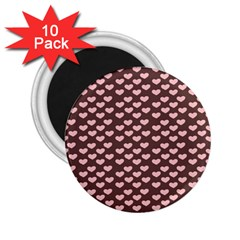 Chocolate Pink Hearts Gift Wrap 2 25  Magnets (10 Pack)  by Mariart