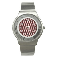 Chocolate Pink Hearts Gift Wrap Stainless Steel Watch by Mariart