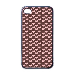 Chocolate Pink Hearts Gift Wrap Apple Iphone 4 Case (black)