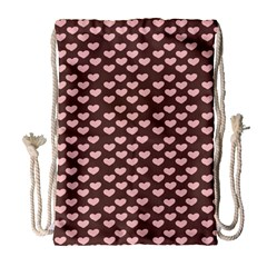 Chocolate Pink Hearts Gift Wrap Drawstring Bag (large) by Mariart