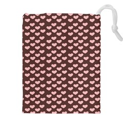 Chocolate Pink Hearts Gift Wrap Drawstring Pouches (xxl) by Mariart
