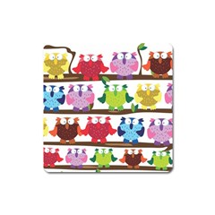 Funny Owls Sitting On A Branch Pattern Postcard Rainbow Square Magnet by Mariart