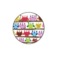 Funny Owls Sitting On A Branch Pattern Postcard Rainbow Hat Clip Ball Marker (4 Pack) by Mariart