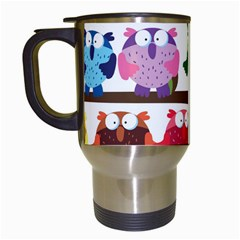 Funny Owls Sitting On A Branch Pattern Postcard Rainbow Travel Mugs (white) by Mariart