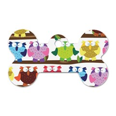 Funny Owls Sitting On A Branch Pattern Postcard Rainbow Dog Tag Bone (two Sides) by Mariart
