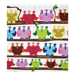 Funny Owls Sitting On A Branch Pattern Postcard Rainbow Shower Curtain 66  X 72  (large)  by Mariart