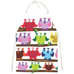 Funny Owls Sitting On A Branch Pattern Postcard Rainbow Full Print Aprons