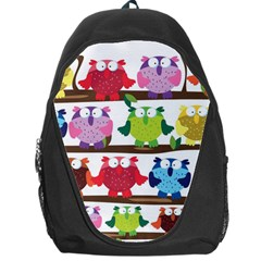 Funny Owls Sitting On A Branch Pattern Postcard Rainbow Backpack Bag by Mariart