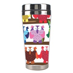 Funny Owls Sitting On A Branch Pattern Postcard Rainbow Stainless Steel Travel Tumblers by Mariart