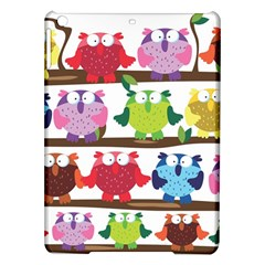 Funny Owls Sitting On A Branch Pattern Postcard Rainbow Ipad Air Hardshell Cases by Mariart