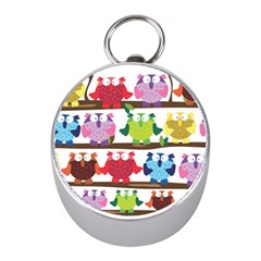 Funny Owls Sitting On A Branch Pattern Postcard Rainbow Mini Silver Compasses by Mariart