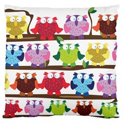 Funny Owls Sitting On A Branch Pattern Postcard Rainbow Standard Flano Cushion Case (one Side) by Mariart