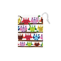 Funny Owls Sitting On A Branch Pattern Postcard Rainbow Drawstring Pouches (xs)  by Mariart