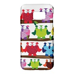 Funny Owls Sitting On A Branch Pattern Postcard Rainbow Samsung Galaxy S7 Hardshell Case  by Mariart