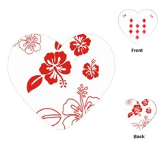 Hawaiian Flower Red Sunflower Playing Cards (heart)  by Mariart