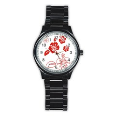 Hawaiian Flower Red Sunflower Stainless Steel Round Watch by Mariart