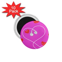 Heart Love Pink Red 1 75  Magnets (10 Pack)  by Mariart