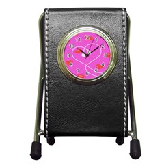 Heart Love Pink Red Pen Holder Desk Clocks by Mariart