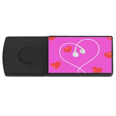 Heart Love Pink Red Usb Flash Drive Rectangular (4 Gb) by Mariart