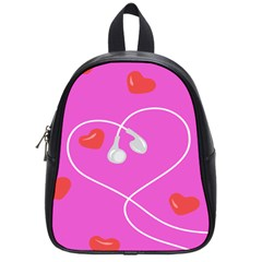 Heart Love Pink Red School Bags (small)  by Mariart