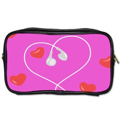 Heart Love Pink Red Toiletries Bags 2 Side by Mariart