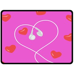 Heart Love Pink Red Fleece Blanket (large)  by Mariart