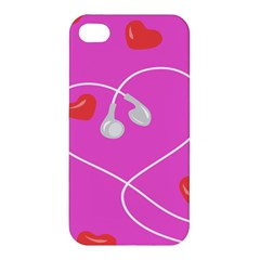 Heart Love Pink Red Apple Iphone 4/4s Premium Hardshell Case by Mariart