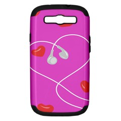 Heart Love Pink Red Samsung Galaxy S Iii Hardshell Case (pc+silicone) by Mariart