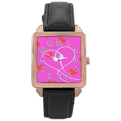 Heart Love Pink Red Rose Gold Leather Watch  by Mariart