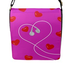 Heart Love Pink Red Flap Messenger Bag (l)  by Mariart