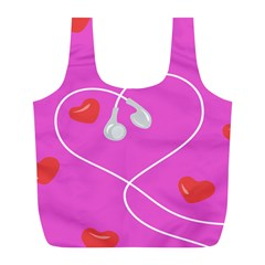 Heart Love Pink Red Full Print Recycle Bags (l)  by Mariart