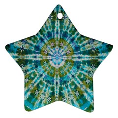 Green Flower Tie Dye Kaleidoscope Opaque Color Ornament (star) by Mariart