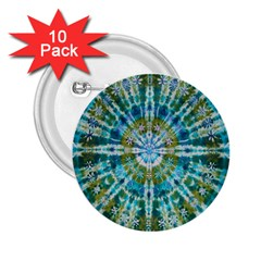 Green Flower Tie Dye Kaleidoscope Opaque Color 2 25  Buttons (10 Pack)