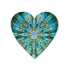Green Flower Tie Dye Kaleidoscope Opaque Color Heart Magnet by Mariart