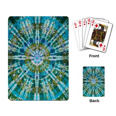 Green Flower Tie Dye Kaleidoscope Opaque Color Playing Card by Mariart