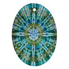 Green Flower Tie Dye Kaleidoscope Opaque Color Oval Ornament (two Sides)