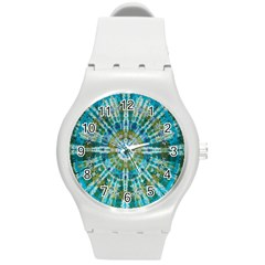 Green Flower Tie Dye Kaleidoscope Opaque Color Round Plastic Sport Watch (m) by Mariart