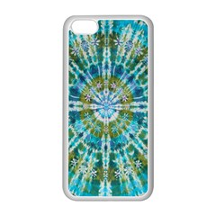 Green Flower Tie Dye Kaleidoscope Opaque Color Apple Iphone 5c Seamless Case (white) by Mariart
