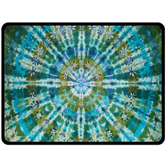 Green Flower Tie Dye Kaleidoscope Opaque Color Double Sided Fleece Blanket (large)  by Mariart
