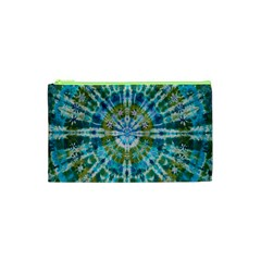 Green Flower Tie Dye Kaleidoscope Opaque Color Cosmetic Bag (xs) by Mariart
