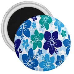 Hibiscus Flowers Green Blue White Hawaiian 3  Magnets by Mariart