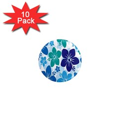 Hibiscus Flowers Green Blue White Hawaiian 1  Mini Magnet (10 Pack)  by Mariart