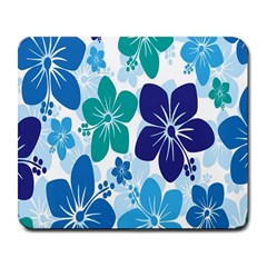 Hibiscus Flowers Green Blue White Hawaiian Large Mousepads by Mariart