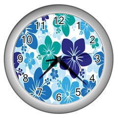 Hibiscus Flowers Green Blue White Hawaiian Wall Clocks (silver)  by Mariart