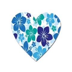 Hibiscus Flowers Green Blue White Hawaiian Heart Magnet by Mariart
