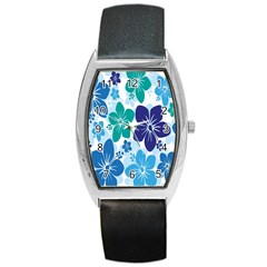 Hibiscus Flowers Green Blue White Hawaiian Barrel Style Metal Watch by Mariart