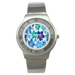 Hibiscus Flowers Green Blue White Hawaiian Stainless Steel Watch by Mariart