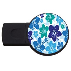 Hibiscus Flowers Green Blue White Hawaiian Usb Flash Drive Round (4 Gb) by Mariart