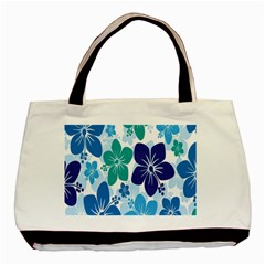 Hibiscus Flowers Green Blue White Hawaiian Basic Tote Bag by Mariart