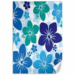 Hibiscus Flowers Green Blue White Hawaiian Canvas 12  X 18   by Mariart